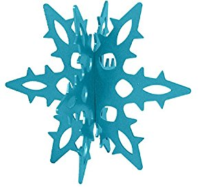 Snowflake 12 Ga. 3D Slide-together Tabletop Centerpiece Christmas Decoration - Wintertime Teal
