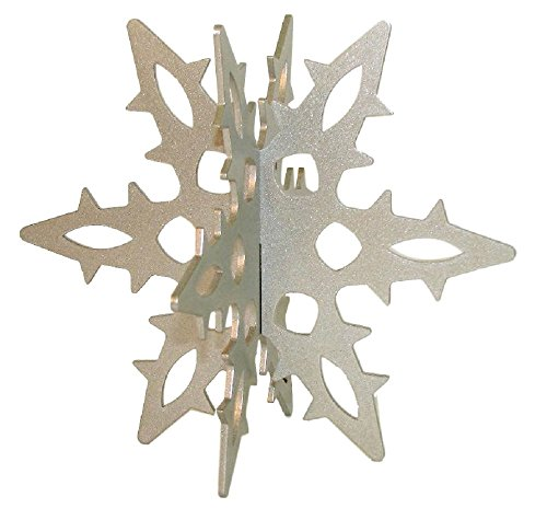 Snowflake 12 Ga. 3D Slide-together Tabletop Centerpiece Christmas Decoration - Icy Silver
