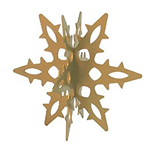 Snowflake 12 Ga. 3D Slide-together Tabletop Centerpiece Christmas Decoration - Glistening Gold