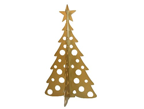 Large Christmas Tree 3D Slide-together Tabletop Centerpiece Christmas Decoration - Glistening Gold