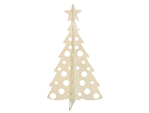 Large Christmas Tree 3D Slide-together Tabletop Centerpiece Christmas Decoration - Warm Ivory