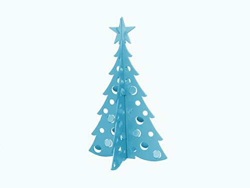 Small Christmas Tree 3D Slide-together Tabletop Centerpiece Christmas Decoration - Wintertime Teal
