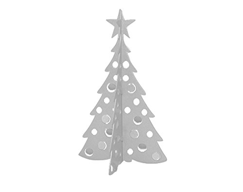 Small Christmas Tree 3D Slide-together Tabletop Centerpiece Christmas Decoration - Icy Silver