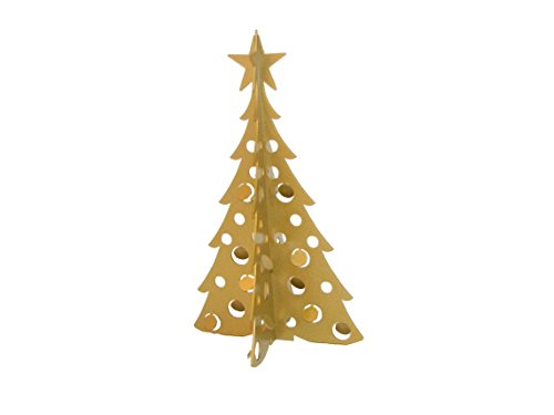 Small Christmas Tree 3D Slide-together Tabletop Centerpiece Christmas Decoration - Glistening Gold