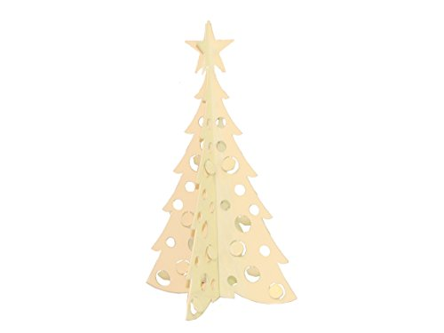 Small Christmas Tree 3D Slide-together Tabletop Centerpiece Christmas Decoration - Warm Ivory