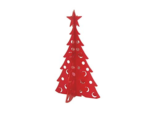Small Christmas Tree 3D Slide-together Tabletop Centerpiece Christmas Decoration - Rudolph Red