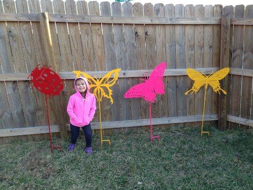 Jumbo Butterfly Silhouette Metal Yard Art / Garden Stake - 9-102501 (Orange)