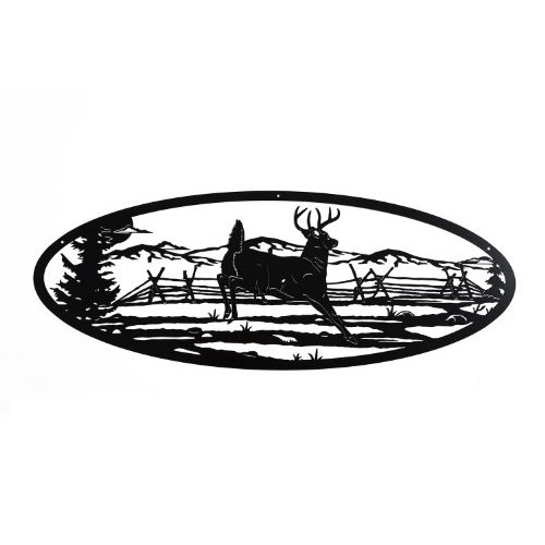 Deer Scene Wall Art Home Decor - 36 in X 13.5 in Oval Shape (black)