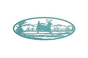 Deer Scene Wall Art Home Decor - 36 In. X 13.5 In. Oval Shape (Weathered Copper)