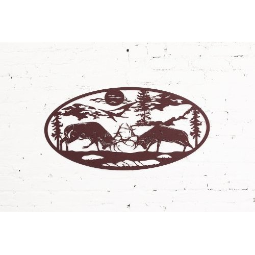 Elk Fighting Scene Wall Art Home Decor - 36 in X 18 in Oval Shape (Rust)