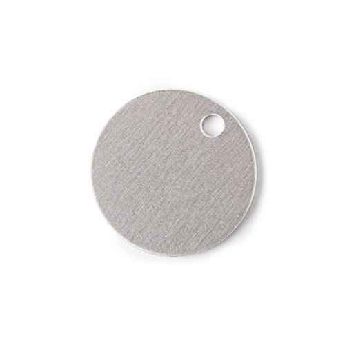 RMP Stamping Blanks, 7/8 Inch Round with One Hole, Aluminum 0.040 Inch (18 Ga.) - 50 Pack