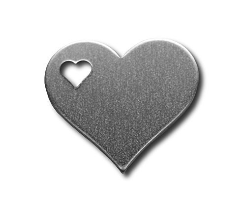RMP Stamping Blanks, 1-1/4 Inch Heart with Left Heart, Aluminum 0.063 Inch (14 Ga.) - 100 Pack