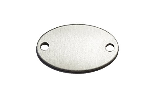 RMP Stamping Blanks, 0.586 Inch x 0.921 Inch Oval with Two Holes, Aluminum 0.063 Inch (14 Ga.) - 50 Pack