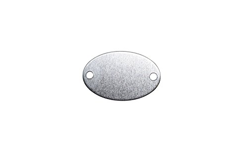 RMP Stamping Blanks, 7/8 Inch x 1-3/8 Inch Oval with Two Holes, Aluminum 0.063 Inch (14 Ga.) - 50 Pack