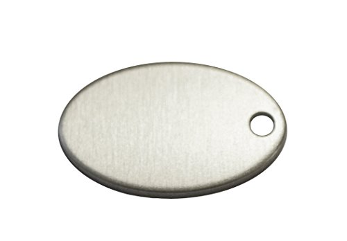 RMP Stamping Blanks, 0.586 Inch x 0.921 Inch Oval with One Hole, Aluminum 0.063 Inch (14 Ga.) - 50 Pack