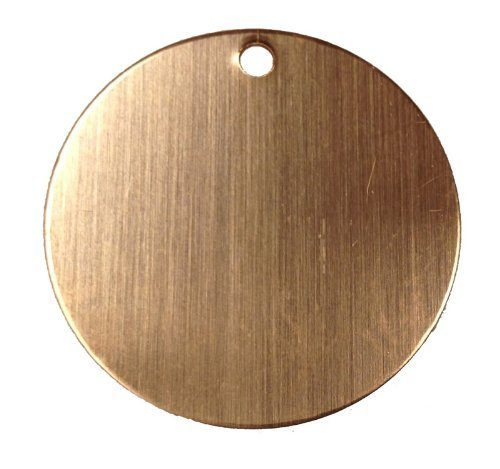 RMP Stamping Blanks, 1 Inch Round with One 0.075 Inch Hole, 24 Oz. Copper 0.032 Inch (21 Ga.) - 10 Pack - SALE