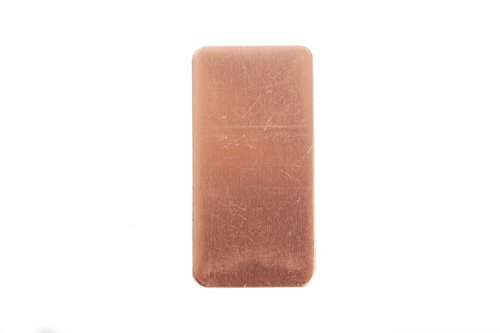 RMP Stamping Blanks, 1 Inch x 2 Inch Rectangle with Rounded Corners, 24 Oz. Copper 0.032 Inch (20 Ga.) - 10 Pack