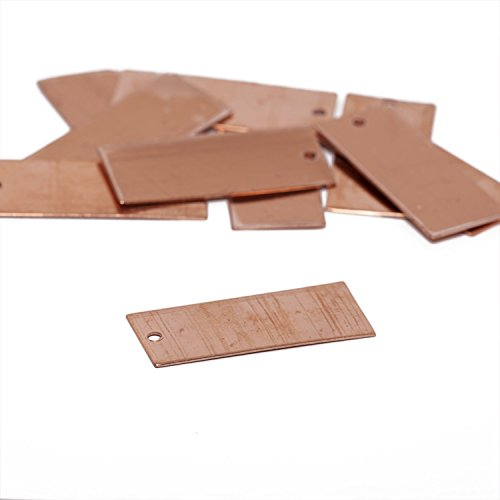RMP Stamping Blanks, 11/16 Inch x 1-1/4 Inch Rectangle with One Hole, 16 oz. Copper 0.021 Inch (24 Ga.) - 10 Pack