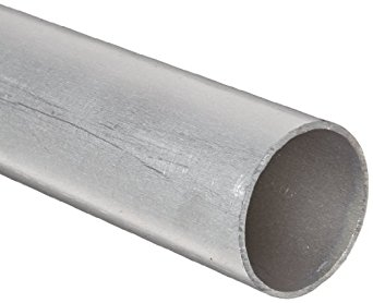 RMP 6061-T6 Aluminum Round Tube, 2 Inch OD x 0.125 Inch Wall in a 12 Inch Length, Extruded, Unpolished (Mill) Finish