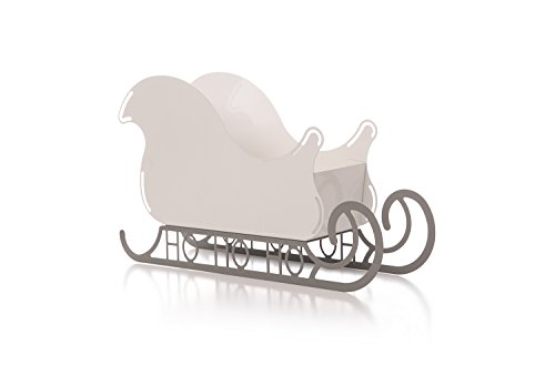 Large Santa Sleigh Christmas Decoration with HO HO HO Base - White