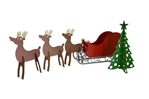 rmp christmas santa sleigh with scroll base rudolph two reindeer and christmas tree set