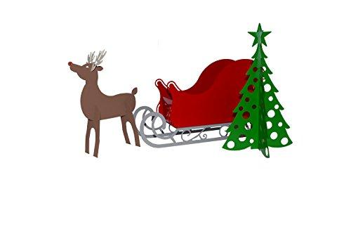 RMP Christmas Santa Sleigh with Scroll Base, Rudolph Reindeer and Christmas Tree Set