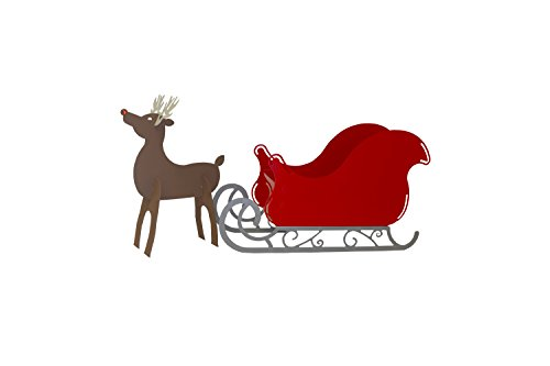 RMP Christmas Santa Sleigh with Scroll Base and Rudolph Reindeer Set