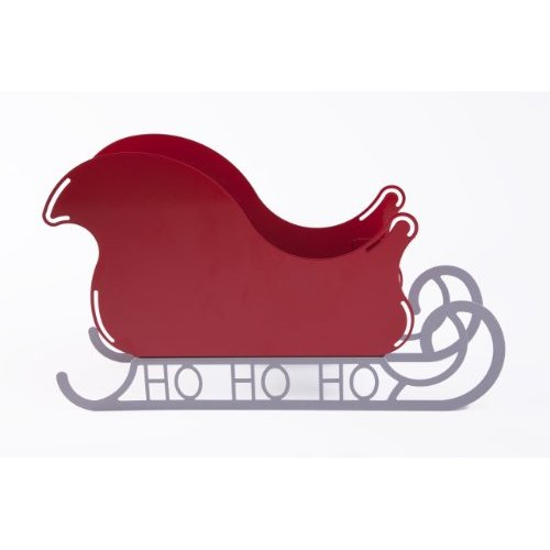 Small Santa Sleigh Christmas Decoration with Ho Ho Ho Base