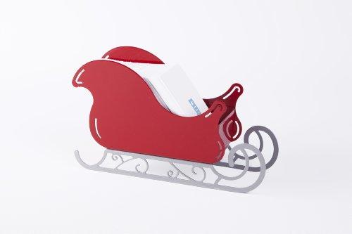 Santa Sleigh Christmas Decoration - small Ornament with Scroll base